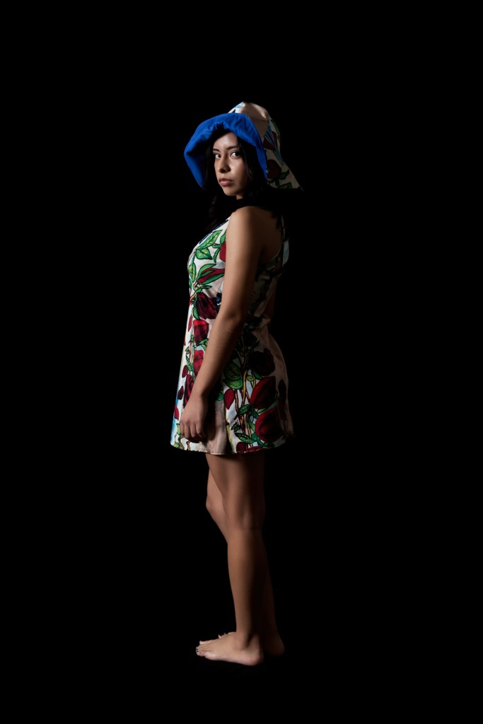 Sundress & Hat with Digital Graphic Print of Roses Painting.