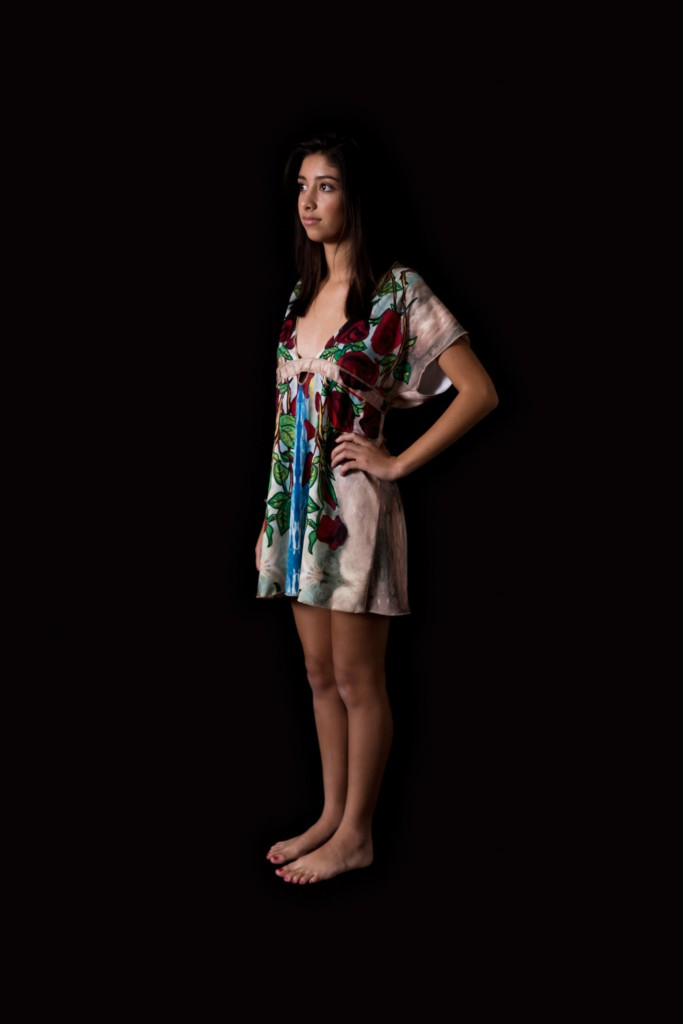Artist Designed Dress with Digital Graphic Print of Roses Painting