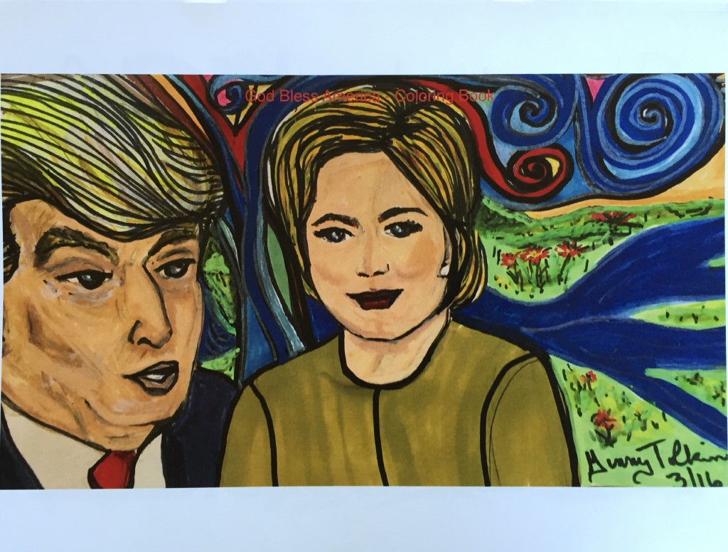 """""""God Bless America!"""" Coloring Book. 9 Pages - Coloring Pages of Hillary, Trump, Sanders, Cruz, Rubio, Kasich & Chris."""