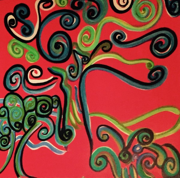 """""""Mulberry Trees"""" - Acrylic Painting at Hotel Casa 425.  Inside a room."""