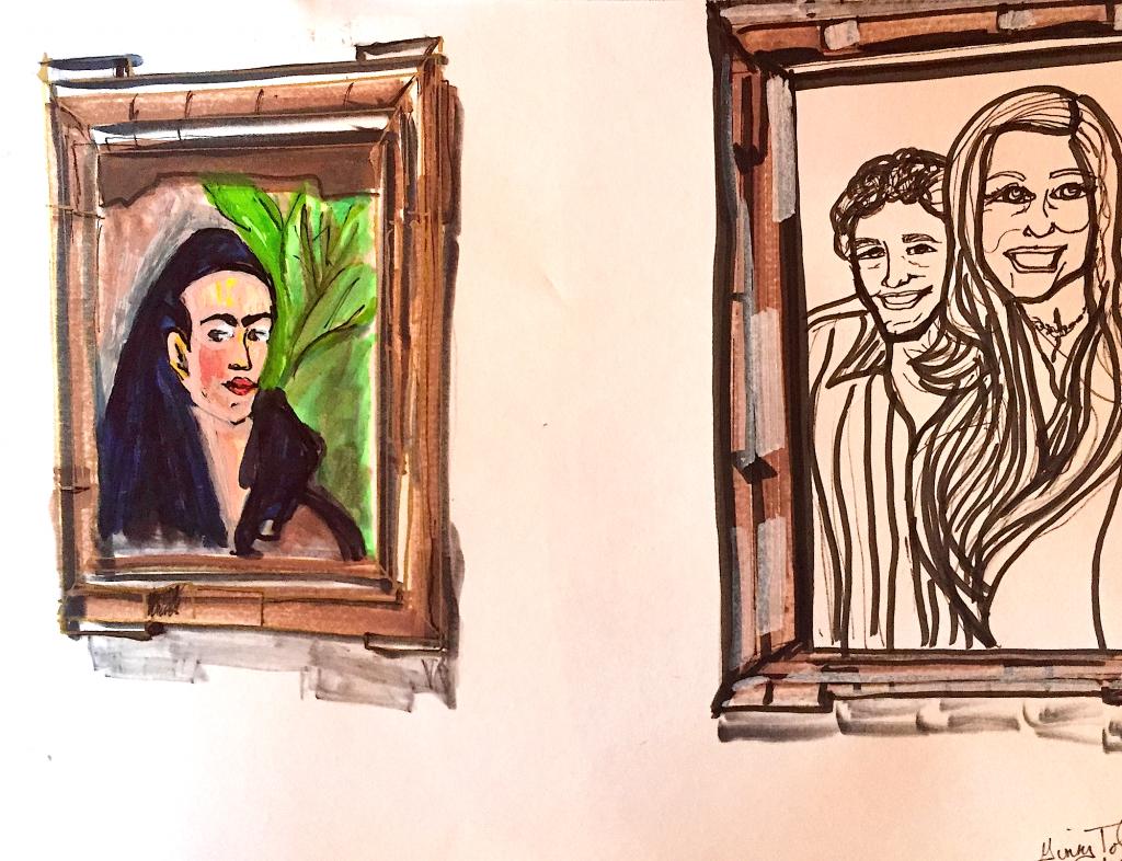 Sketch with Markers.  Ginny Jon & Frida